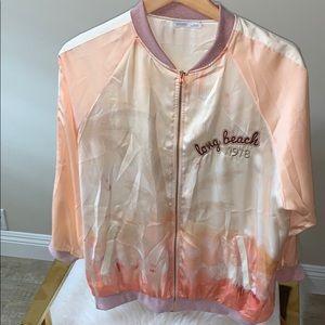 Zara Bomber Long Beach Silk Jacket